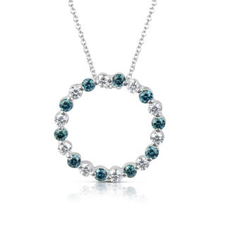 Suzy Levian 14k White Gold .75ct TDW Blue and White Diamond Circle Pendant Necklace (H-I, SI1-SI2)