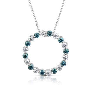 Suzy Levian 14k White Gold .75ct TDW Blue and White Diamond Circle Pendant Necklace
