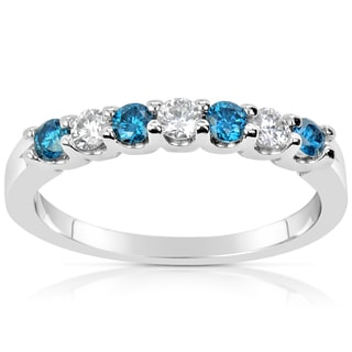 Suzy Levian 14k White Gold .50ct TDW Blue and White Diamond Anniversary Band Ring