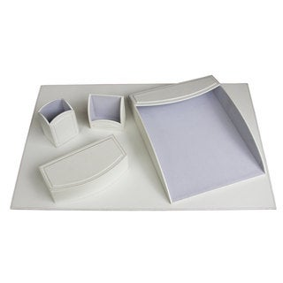 Daisy White 5-piece Leatherette Desk Set