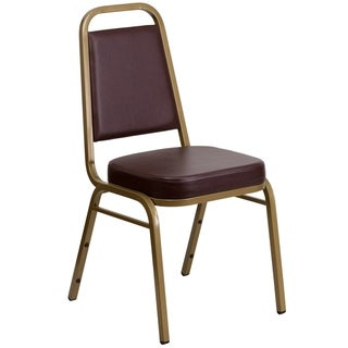 Trapezoidal Back Stacking Banquet Chair - Gold Frame