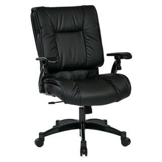 Black Bonded Leather Pillow Top Seat and Back Conference Chair