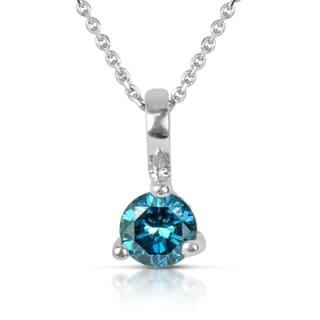 Suzy Levian 14k White Gold .22ct TDW Blue Diamond Solitaire Pendant Necklace