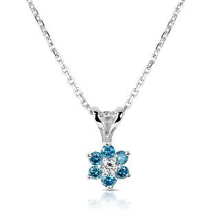 Suzy Levian 14k White Gold .40ct TDW Blue and White Diamond Flower Pendant Necklace