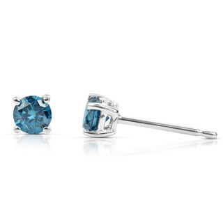 Suzy Levian 14k White Gold .33ct TDW Round Blue Diamond Stud Earrings