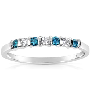 Suzy Levian 14k White Gold .21ct TDW Blue and White Diamond Anniversary Band Ring