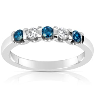 Suzy Levian 14k White Gold .40ct TDW Blue and White Diamond Anniversary Band Ring