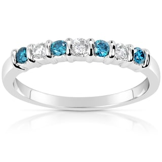 Suzy Levian 14k White Gold .33ct TDW Blue and White Diamond Anniversary Band Ring
