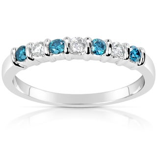 Suzy Levian 14k White Gold .33ct TDW Blue and White Diamond Anniversary Band Ring (H-I, SI1-S12)