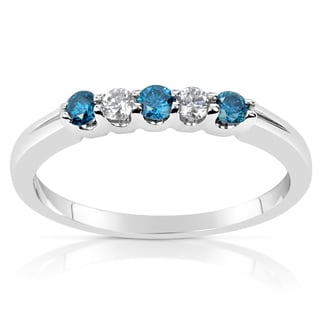 Suzy Levian 14k White Gold .28ct TDW Blue and White Diamond Anniversary Band Ring