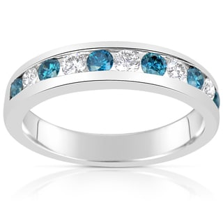 Suzy Levian 14k White Gold .74ct TDW Blue and White Diamond Modern Band Ring