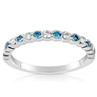 Suzy Levian 14k White Gold .36ct TDW Blue and White Diamond Anniversary Band Ring
