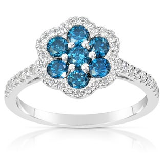 Suzy Levian 14k White Gold .93ct TDW Blue and White Diamond Ring
