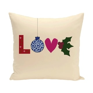 White Decorative Holiday 'Love' Print 16-inch Pillow