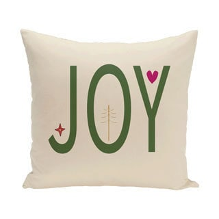 White Decorative Holiday Joy 16-inch Pillow (Ivory and Green)