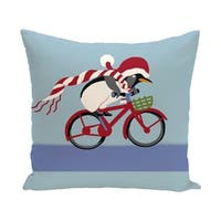 Blue Decorative Holiday Riding Penguin Print 18-inch Pillow
