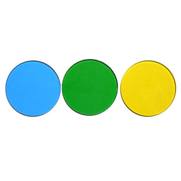 32mm Blue Green and Yellow Filters for Microscopes