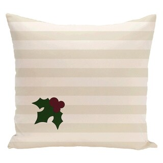 White Decorative Holiday Striped Mistletoe Print 16-inch Pillow
