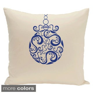White Decorative White Holiday Ornament Swirl Print 16-inch Pillow