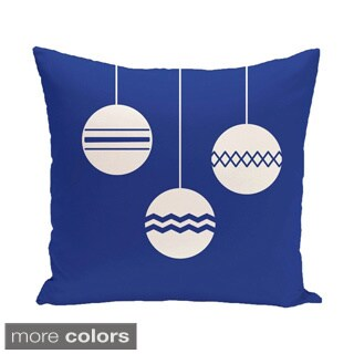 Decorative Holiday Tri Ornament Print 16-inch Pillow