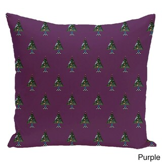Decorative Holiday Multi Tree Print 16-inch Pillow