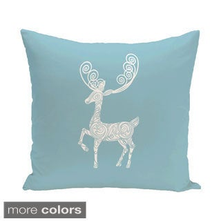 Decorative Holiday Reindeer Print 16-inch Pillow