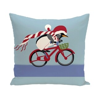 Blue Decorative Holiday Riding Penguin Print 16-inch Pillow