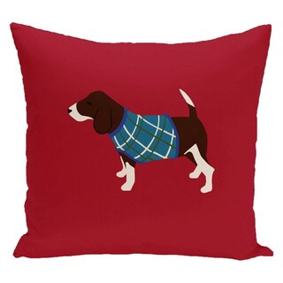 Red Decorative Holiday Hound Dog Print 16-inch Pillow
