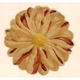 Zinia Flower Hand-tufted Shaped Area Rug (India)