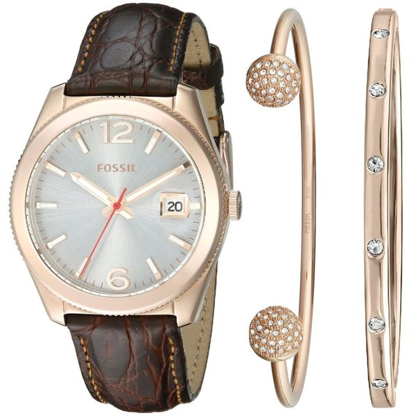 Fossil Woman's ES3770SET Perfect Boyfriend Three-Hand Leather Watch and Bracelet Set