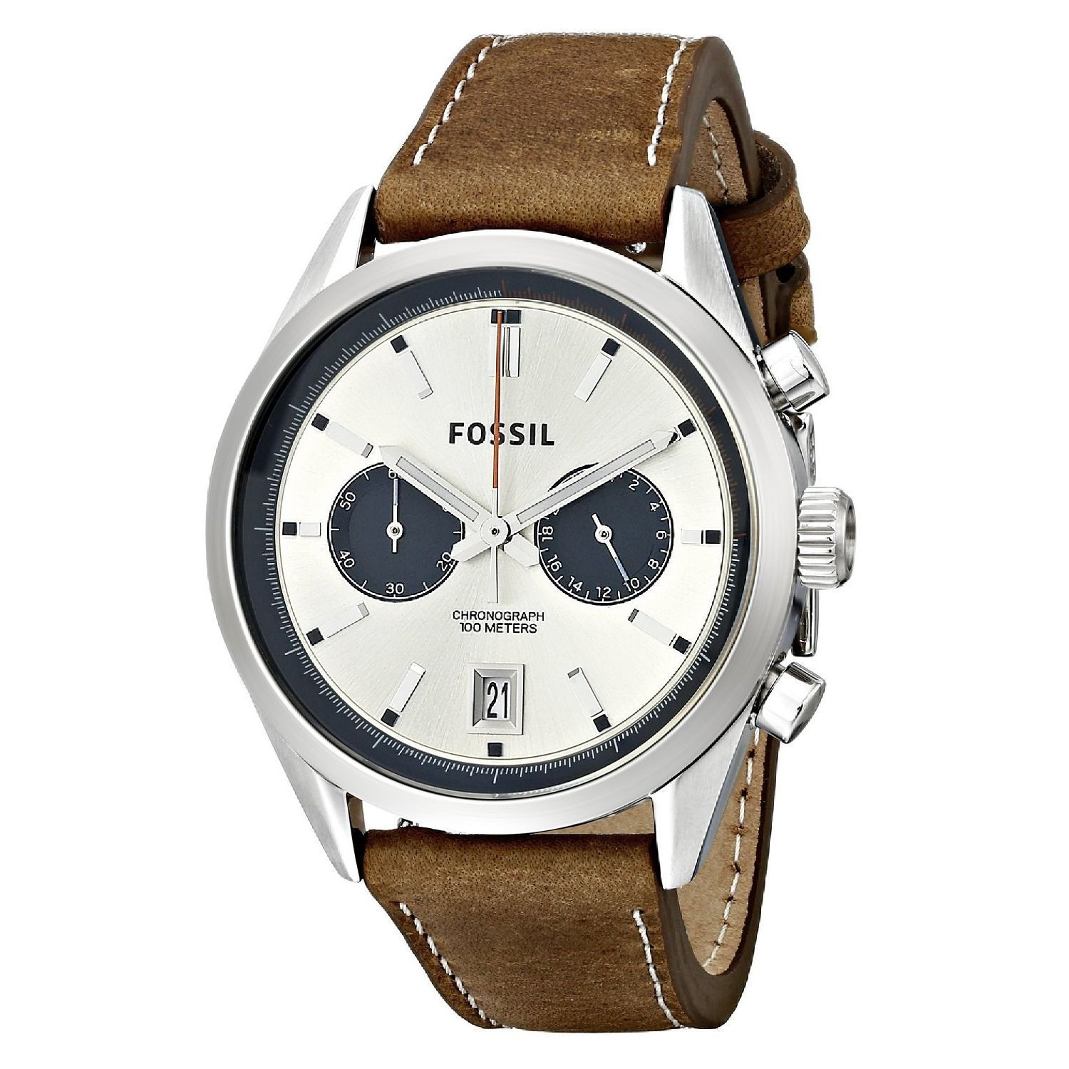 Fossil Men's CH2952 Del Rey Chronograph Leather Brown Wat...
