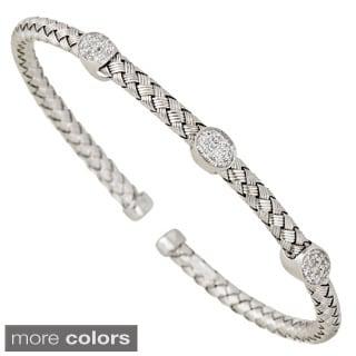 Decadence Sterling Silver Italian 5-stone Cubic Zirconia Basketweave Bracelet