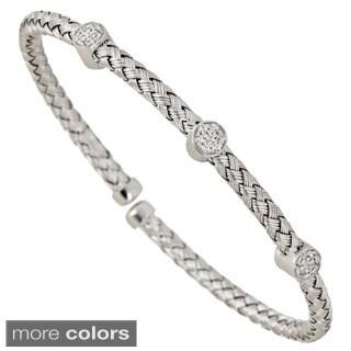 Decadence Sterling Silver 3-stone Cubic Zirconia Italian Bracelet