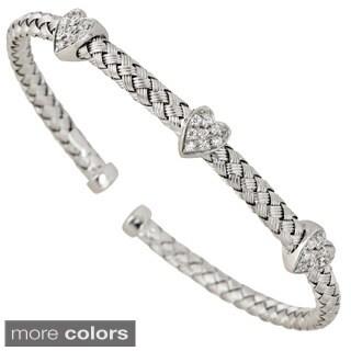 Decadence Sterling Silver 3-stone Cubic Zirconia Heart Italian Basketweave Bracelet