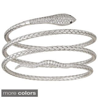 Decadence Sterling Silver Micropave 4-strand Basketweave Snake Italian Bangle