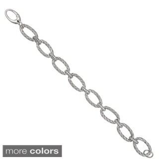 Decadence Sterling Silver Basketweave Link Bracelet