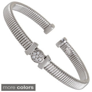 Decadence Sterling Silver Center Cubic Zirconia Station Wire-cut Cuff Bangle