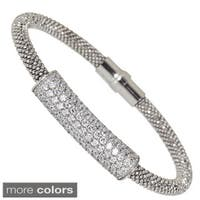 Decadence Sterling Silver Cubic Zirconia Popcorn Magnetic Mesh Bracelet