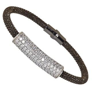 Decadence Sterling Silver Cubic Zirconia Popcorn Magnetic Mesh Bracelet
