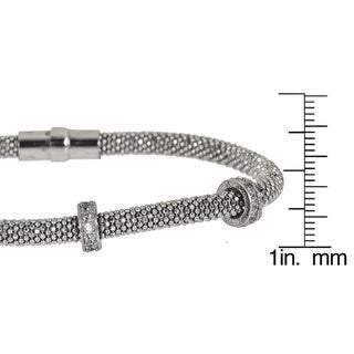 Decadence Sterling Silver 3 Cubic Zirconia Ring Magnetic Mesh Bracelet