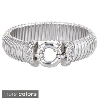 Decadence Sterling Silver Cubic Zirconia End Station Fancy Italian Bangle