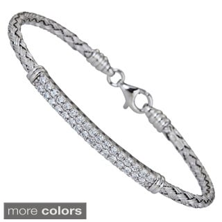 Decadence Sterling Silver Cubic Zirconia Bar Basketweave Bracelet