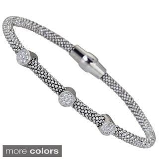 Decadence Sterling Silver Cubic Zirconia 3-circle Magnetic Popcorn Bracelet