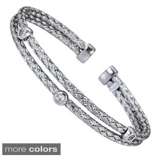 Decadence Sterling Silver Cubic Zirconia Basketweave Italian Cuff Bracelet
