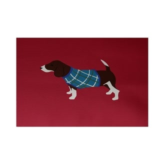 Red Hound Dog Holiday Animal Print Decorative Area Rug (3' x 5')