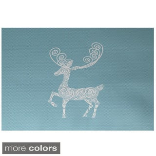 Reindeer Holiday Animal Print Decorative Area Rug (3' x 5')