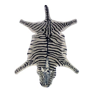Hand-tufted Wool Zebra Shaped Area Rug (India)