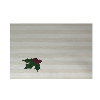 White Holiday Stripe Mistletoe Print Decorative Area Rug (3' x 5')