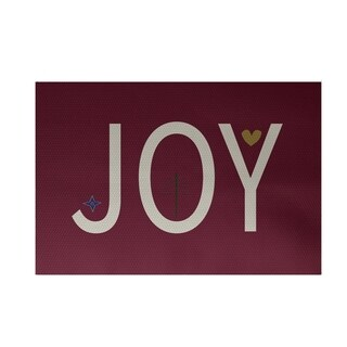 Red Holiday 'Joy' Print Decorative Area Rug (3' x 5')