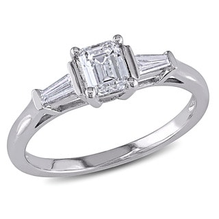 Miadora Signature Collection 14k White Gold 3/4ct TDW Diamond Three Stone Engagement Ring